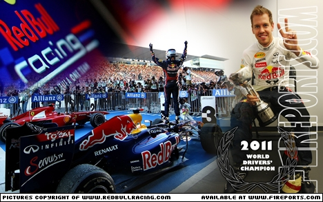 Branding for Red Bull Racing, 2011 Wallpaper 30. Sebastian Vettel, World Drivers' Champion. Image © Red Bull Racing - 30th Dec 2011 - www.f1reports.com