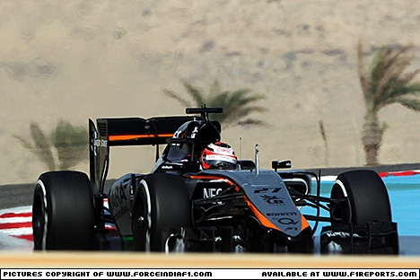 Branding for Force India F1, 2015 Bahrain Grand Prix, Saturday. Image © Force India - 18th Apr 2015 - www.f1reports.com