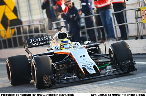 Branding for Force India F1, 2017 Catalunya, (Test 1), Test Day 1. Image © Force India - 27th Feb 2017 - www.f1reports.com
