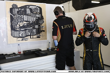 Branding for Lotus F1, 2013 Spanish Grand Prix, Sunday. Image © Lotus F1 Team - 12th May 2013 - www.f1reports.com