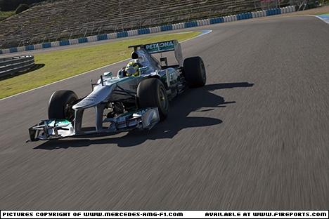 Branding for Mercedes AMG F1, 2013 Jerez, Test Day 1. Image © Mercedes AMG F1 - 5th Feb 2013 - www.f1reports.com