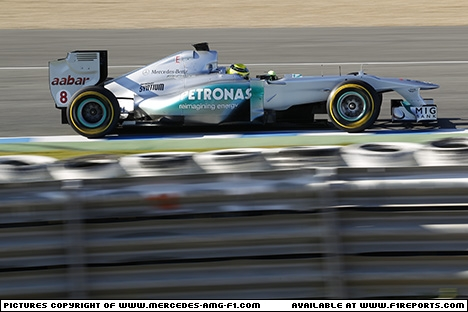 Branding for Mercedes AMG F1, 2012 Jerez, Test Day 1. Image © Mercedes AMG F1 - 7th Feb 2012 - www.f1reports.com