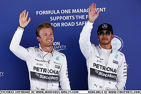 Branding for Mercedes AMG F1, 2015 Spanish Grand Prix, Saturday. Image © Mercedes AMG F1 - 9th May 2015 - www.f1reports.com