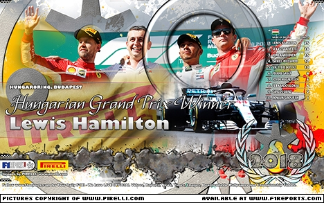 F1Reports WINNERS' Wallpaper: 2018 Hungarian Grand Prix courtesy of PIRELLI. Image © Pirelli - 6th Aug 2018 - www.f1reports.com