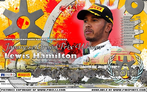 F1Reports WINNERS' Wallpaper: 2018 Japanese Grand Prix courtesy of PIRELLI. Image © Pirelli - 13th Oct 2018 - www.f1reports.com