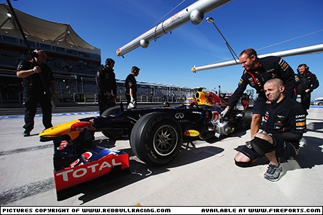 Branding for Red Bull Racing, 2012 United States Grand Prix, Friday. Image © Red Bull Racing - 16th Nov 2012 - www.f1reports.com